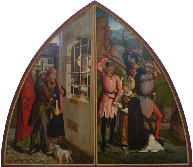 Bartholomeus Zeitblom, Scenes from the Life of Saint Valentine: St. Valentine in Prison; The Beheading of St. Valentine