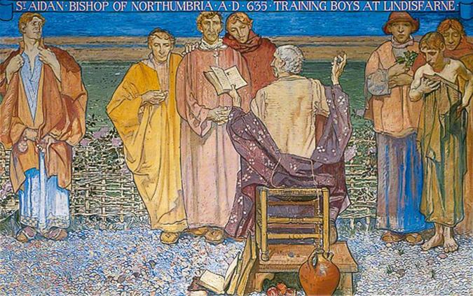 Frank Brangwyn, St Aidan, Bishop of Northumbria, AD 635 Training Boys at Lindisfarne