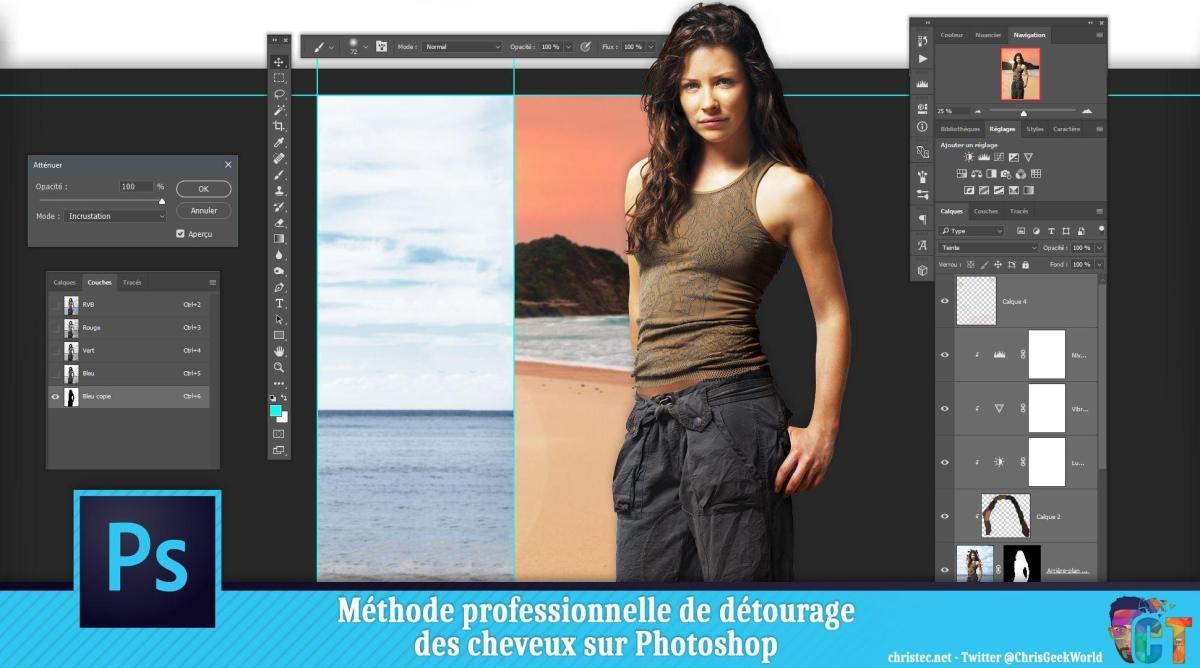 Méthode professionnelle de détourage des cheveux sur Photoshop