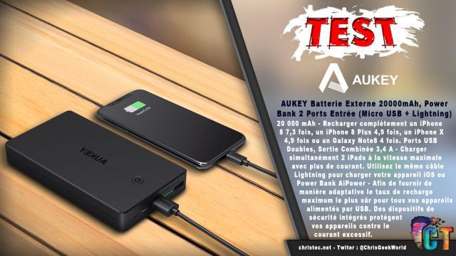 Test de la Batterie externe 20000 mAh de Aukey – 2 Ports Entrée (Micro USB + Lightning)