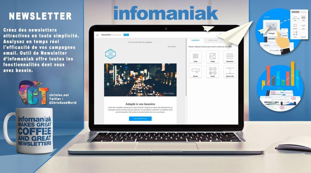 image en-tête Découverte de l'outil de Newsletter illimitée et sans abonnement d'Infomaniak