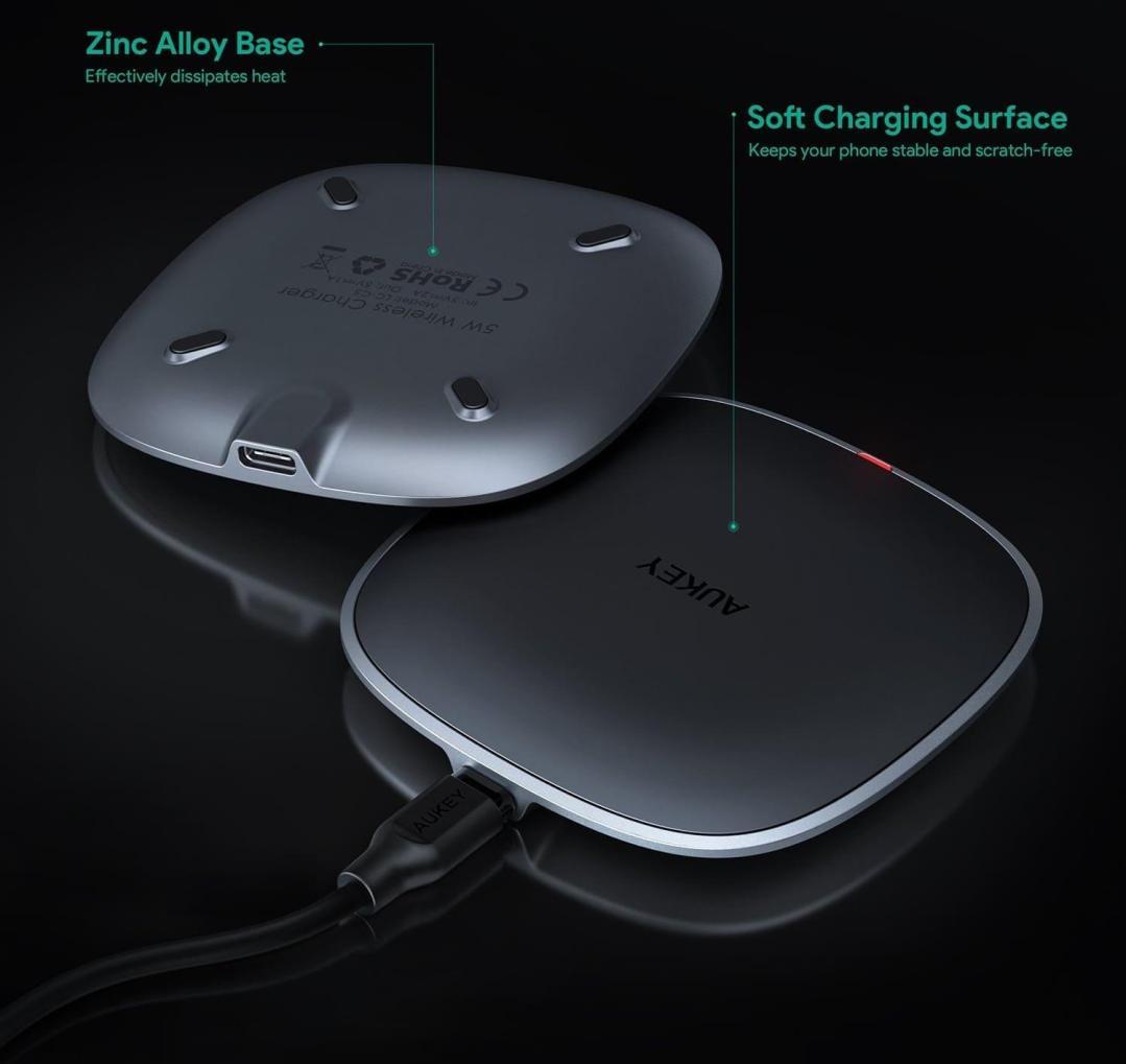 image test du chargeur sans fil par induction compatibles Qi en graphite d'Aukey 7
