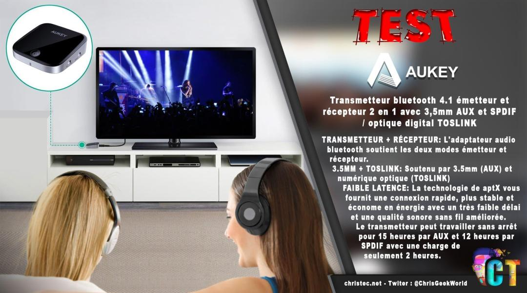 image en-tête test du transmetteur, émetteur et récepteur Bluetooth de Aukey