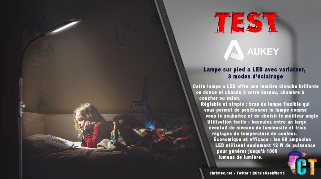 image en-tête Test de la lampe sur pied à LED Aukey avec 3 modes d'éclairage