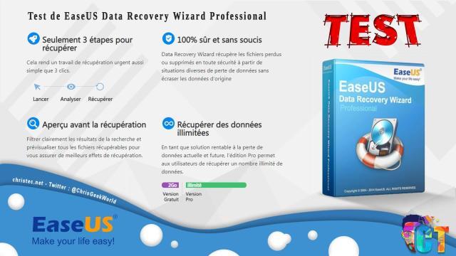 Test du logiciel de recuperation de donnée EaseUS Data Recovery Wizard Pro