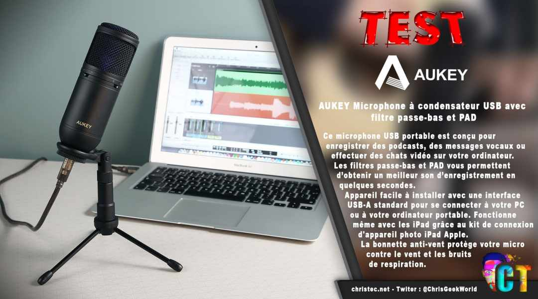 image en-tête Test du microphone cardioïde USB Aukey à condensateur