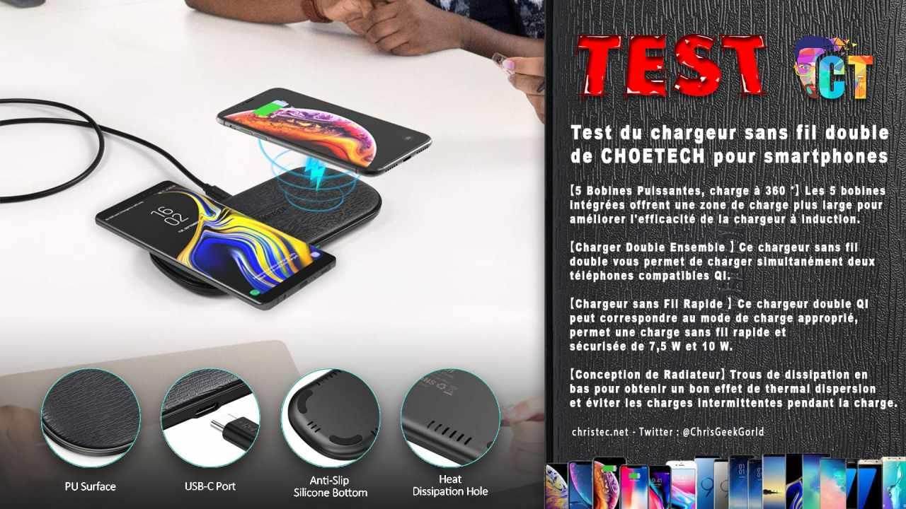 Test du chargeur sans fil double de CHOETECH pour smartphones