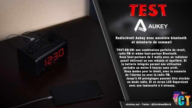 Test du radioréveil Aukey avec enceinte Bluetooth et minuterie de sommeil.
