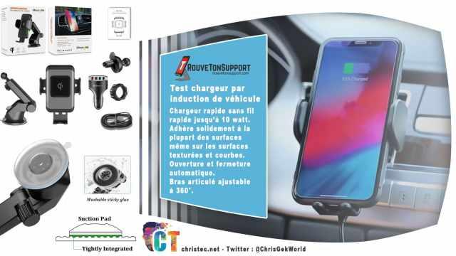 Test d'un support de smartphone pour voiture avec chargeur sans fil