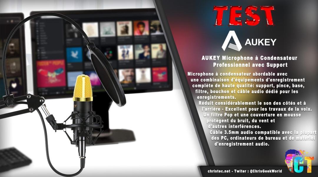 image en-tête Test du kit microphone et support de microphone à bras ciseaux Aukey