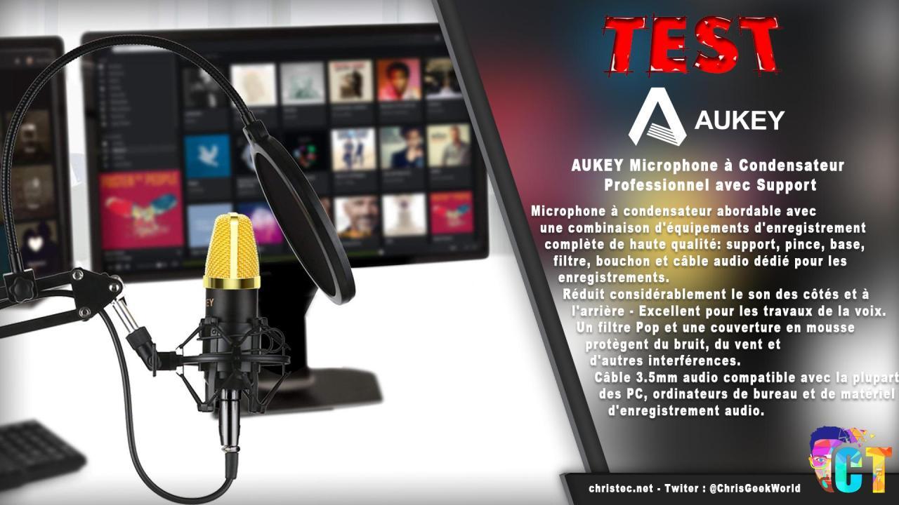 Test du kit microphone et support de microphone à bras ciseaux Aukey