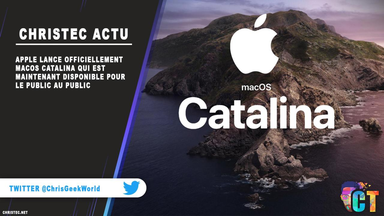 Apple lance officiellement MacOS Catalina qui est maintenant disponible pour le public