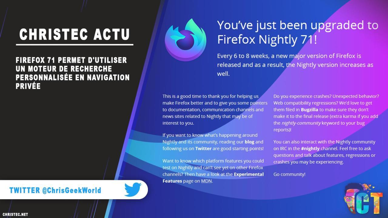Firefox 71 permet d'utiliser un moteur de recherche personnalisée en navigation privée