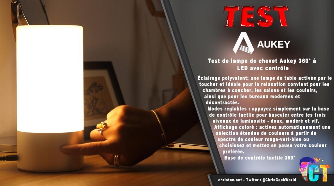 image en-tête Test de lampe de chevet Aukey 360° à LED avec contrôle