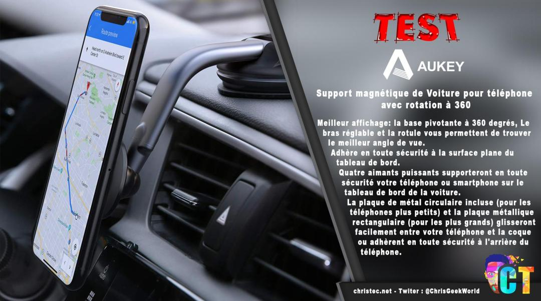 image en-tête Test du support de smartphone magnétique Aukey pour voiture