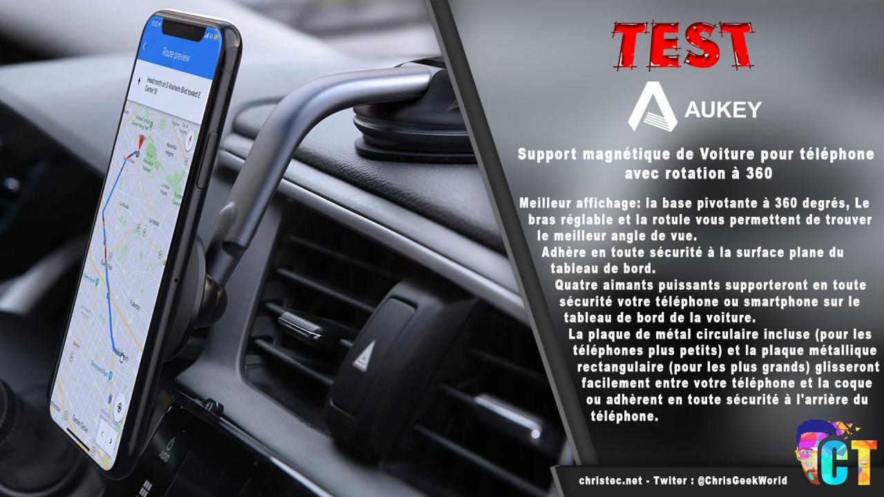 Test du support de smartphone magnétique Aukey pour voiture