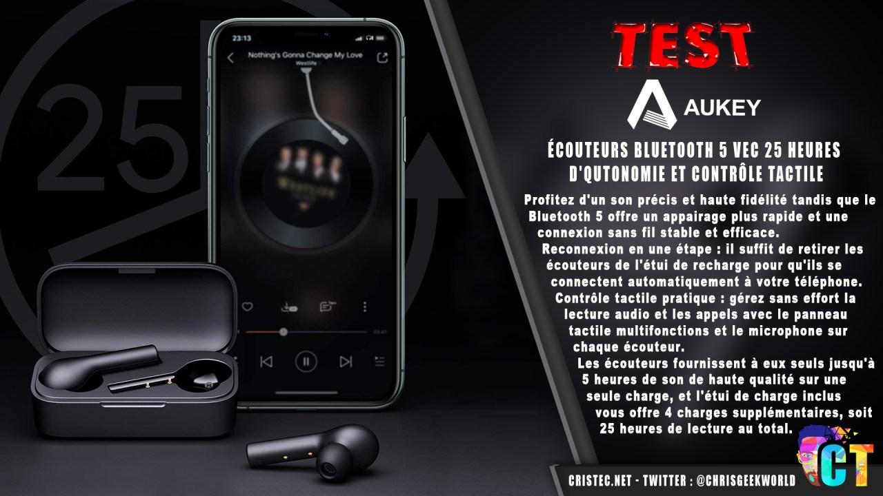 Test des écouteurs Bluetooth 5 Aukey avec 25 heures d'autonomie et contrôle tactile