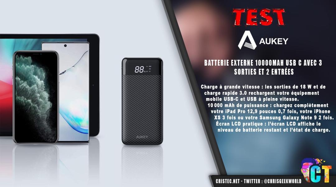 image en-tête Test de la batterie Aukey 10000mAh avec charge rapide et écran
