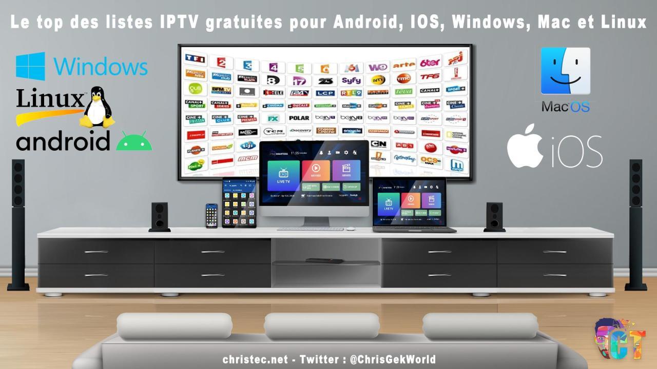 Le top des listes iptv gratuites pour Android, IOS, Windows, Mac et Linux