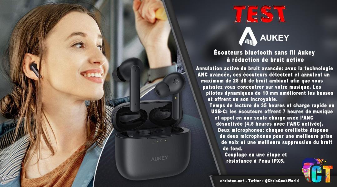 image en-tête Test des écouteurs bluetooth sans fil Aukey à réduction active du bruit