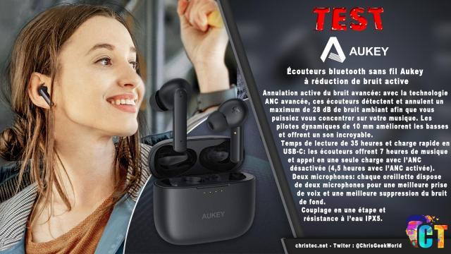 Test des écouteurs bluetooth sans fil Aukey à réduction active du bruit