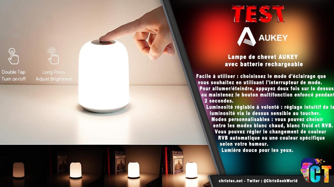 Test de la lampe de chevet RGB avec batterie intégrée de chez Aukey