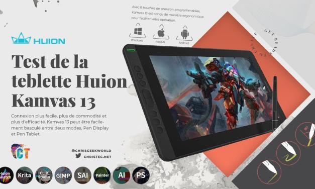 Test de la tablette graphique avec écran Huion kamvas 13: rapport performance/prix excellent