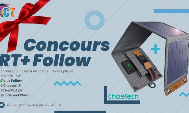 Voici le gagnant du concours twitter pour gagner un chargeur solaire pliable Choetech de 14W