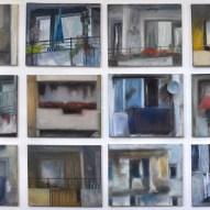 Tableau Balkone Voyeurismusausstellung 12 x (40x50cm ) Öl/LW 2012
