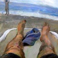 Zwei Füsse und das Meer, 50 x 50cm Acryl/LW 2015