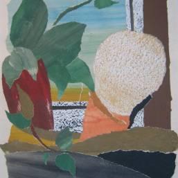 Stilleben mit Kaktus 68 x48cm Collage/Karton