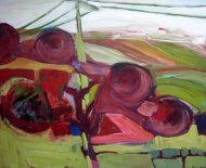 Landschaft mit Überlandleitung 80x100cm AcrylLW 2000