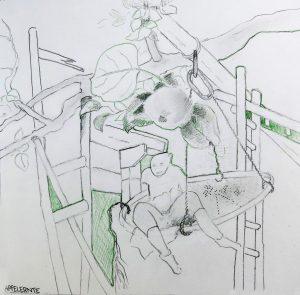 Apfelernte  21x21  Bleistift,Farbstift  2012