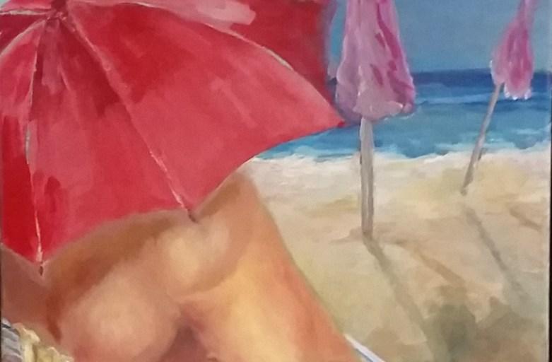 Sonne unterm Regenschirm, 50 x 40 cm, Acryl/LW, 2017