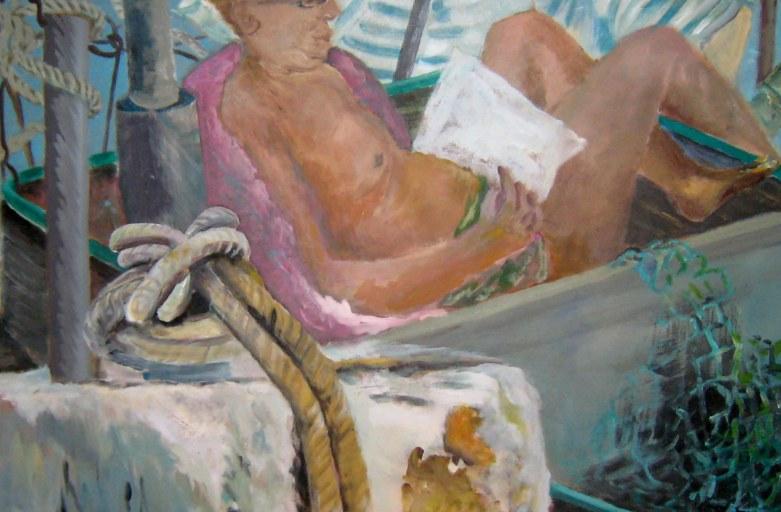Siesta im Fischerboot, 80 x 80 cm ,Acryl/LW, 2017