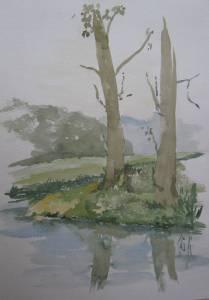 Bei den toten Bäumen  Aquarell