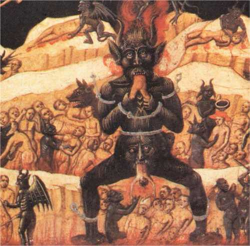 Vision of a Leader of Satanism being Eaten by Wolves in Hell