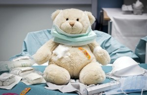 Teddy bear patched up