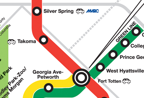 A detail of part of the red line, where the two-train collision occurred at 5 p.m.