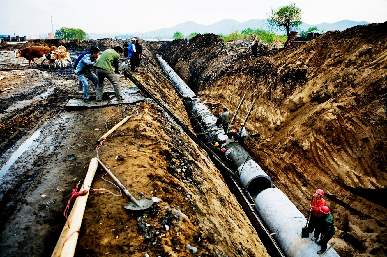 A team of workers are finishing the dayÕs work on a new pipeline from one of the many factories along Songhua River. The cows on the left used to graze here, but powerful factory owners can always claim a farmerÕs land, since the state owns all land in China. Christian Als / GraziaNeri