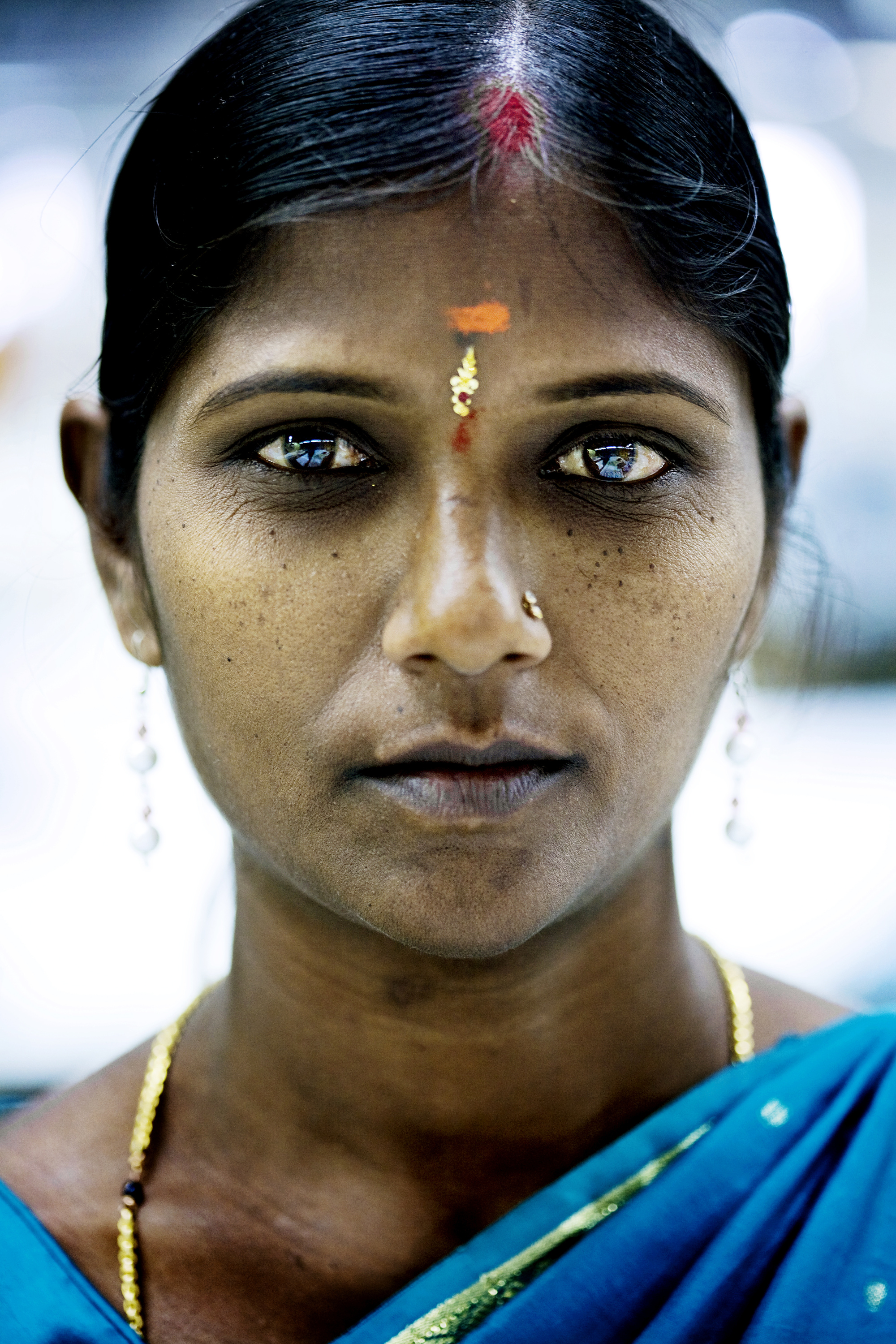 A young woman in a textile factory in Bangalore.