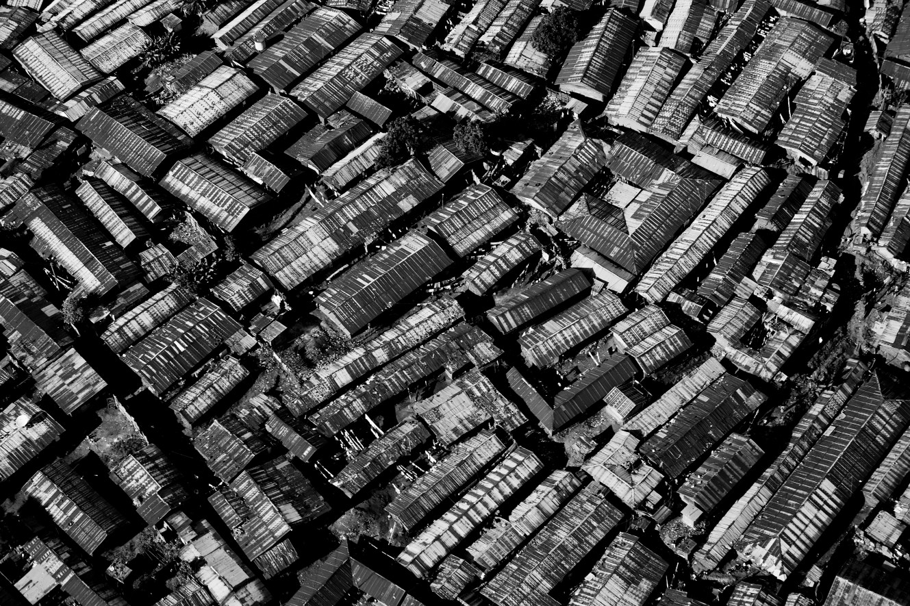 Kibera is one of the most densely populated places on earth; this means that an average of 1500 people live on the equivalent of a football pitch, or the area seen on this picture.