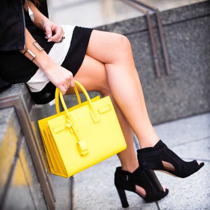 sac de jour, saint laurent handbag, black booties, rag and bone dress, kendra scott cuff