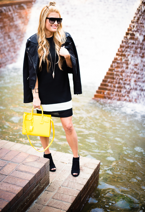 rag and bone dress, yellow sac de jour, vince camuto shoes, black bootie, conley, tom ford kristen
