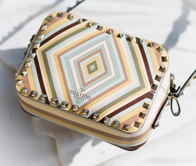 valentino, rockstuds, geometric patterns, 70's inspired, camera bag