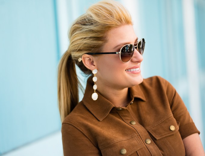 chanel, aviators, lana, mother of pearl, earrings, brown suede, ponytail