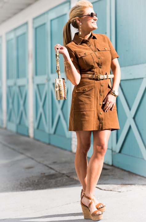 brown suede dress, current elliot, channel, gold aviators, jimmy choo, wedges