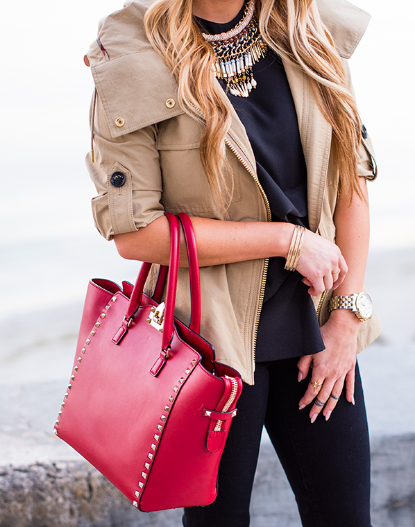 burberry jacket, burberry trench, black skinnies, frame denim, valentino handbag, red purse, leopard shoes, topshop, kendra scott rings, statement necklace