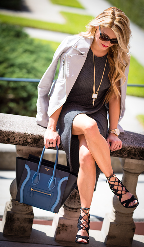 celine, micro luggage, lace up shoes, chanel sunglasses, faux leather jacket, grey jacket