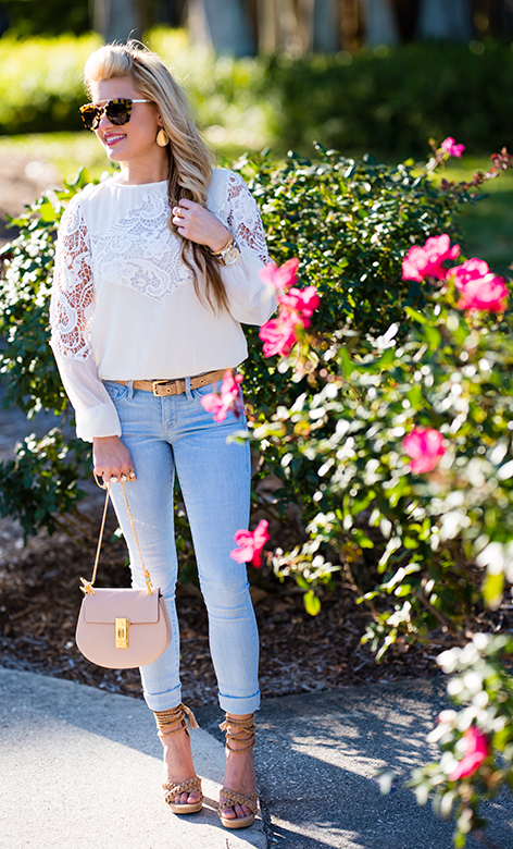 Light Blue Jeans White Lacey Blouse Chloe 1